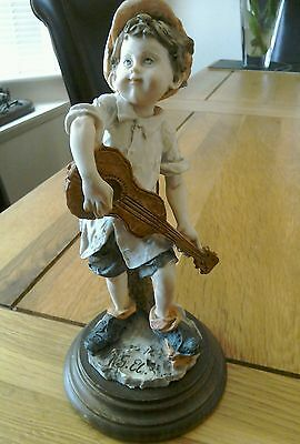 """Capodimonte Figurine - Boy Playing The Guitar 7.5"""" Tall"""