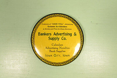 Advertising Pocket Mirror - Vintage Bankers Supply Iowa Celluloid Paperweight