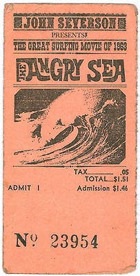 1963 Surf Movie Ticket Stub – THE ANGRY SEA – John Severson