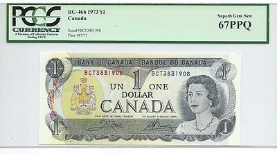 1973 Bank of Canada Uncirculated $1 Note;  PCGS 67 PPQ; Superb Gem New
