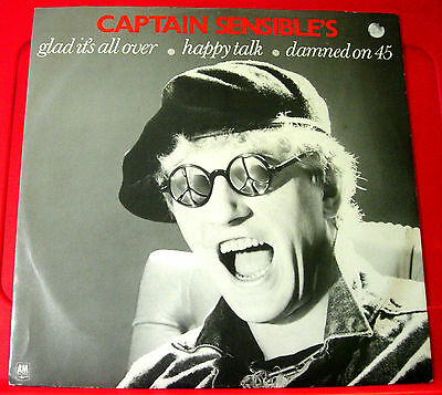 "Captain Sensible Glad It's All Over 12""PC UK ORIG'84 A&M Happy Talk/Damned VINYL"