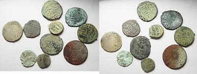 Zurqieh -Aa5733- Lot Of 10 Silver And Bronze Islamic Coins. Mostly Mamluk