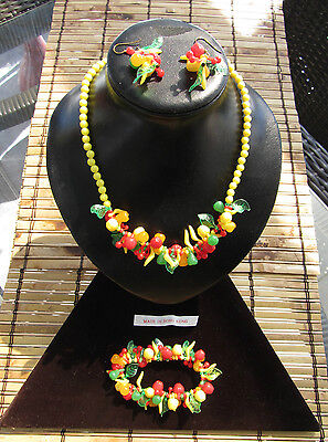 Vintage Fruit Salad Beaded y. Celluloid set Necklace + Earrings + Bracelet H.K.