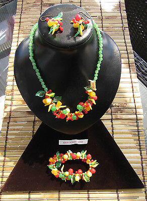 Vintage Fruit Salad Beaded Celluloid G set Necklace + Earrings + Bracelet H.K.