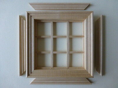 Dolls House Miniatures 1/12th Scale 9 Pane Wooden Windows.