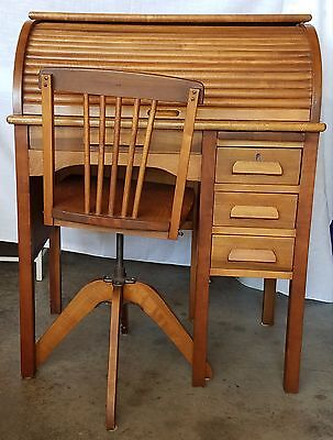 Antique Child's Roll Top Desk and Swivel Chair