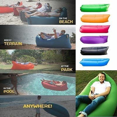 Lazy Lounger Inflatable Air Bed Sofa Lay Sack Hangout Camping Beach Bean Bag