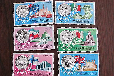 """Complete set of 6 stamps SHARJAH """"History of the Olympics"""""""