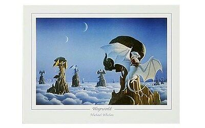 DRAGON ART POSTER ~ WHITE WEYRWORLD PERN 26x34 Dragons Michael Whelan Riders