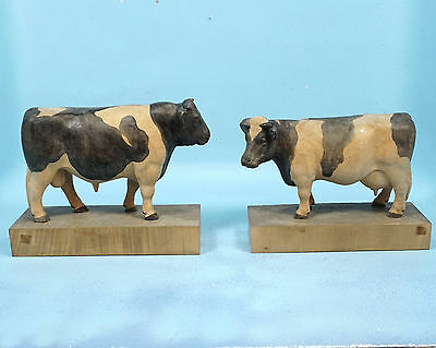Pair Swiss Antique Black Forest Wood Carving Bull & Cow Holstein Folk Art Signed