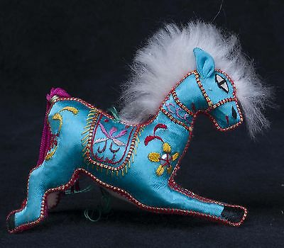 Vtg 70's Chinese Satin Embroidered Fabric Blue Horse Animal Christmas Ornament