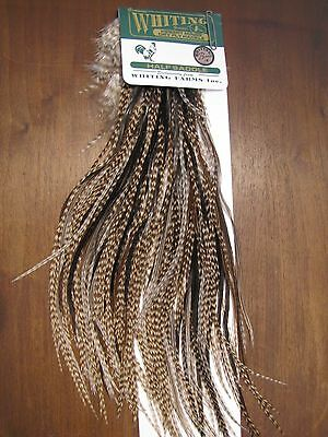 Fly Tying Whiting H/M Bronze Half Rooster Saddle Dun Grizzly #A
