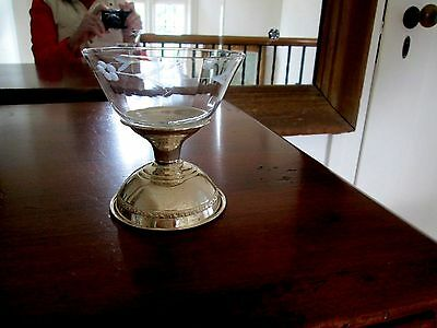10 Sterling Silver and Etched Crystal Sherbert Cups owned since the 50s.