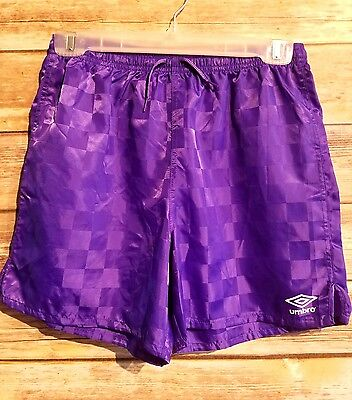 Umbro Classic Purple Checkered Soccer Shorts Youth Size Large