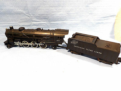 AMERICAN FLYER S GAUGE No.283 LOCOMOTIVE AND TENDER SMOKER RUNS GREAT