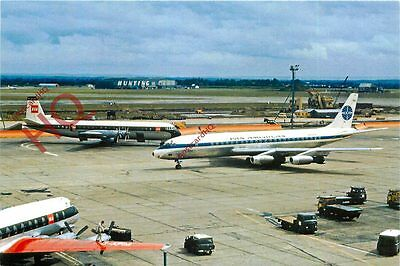Postcard- PAN AM DOUGLAS DC-8 N803PA AND BEA VANGUARD G-APEM @ LHR