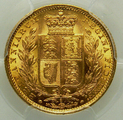 1884 S AUNC/UNC Sydney Australia Queen Victoria Gold Sovereign Coin PCGS MS62