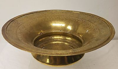 Large Signed 19c. Antique Russian Brass Wash Basin Arabic Decorated in Moscow