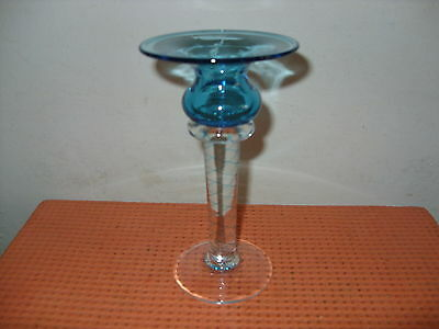 "'Bath 2003' Coloured Hand Blown Glass Candlestick - 6"" Tall beautiful hand-made"