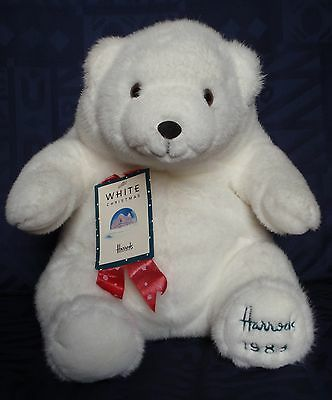 "Harrods 1989 Foot Dated 13"" Annual White Christmas Teddy Polar Bear Tagged"