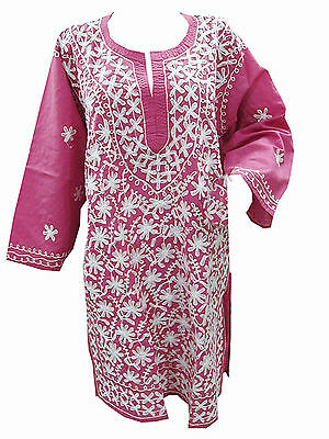 Boho Indian Ethnic Kurti Hand Embroidered Pink Cotton Tunic Long Kurta Dress Xl