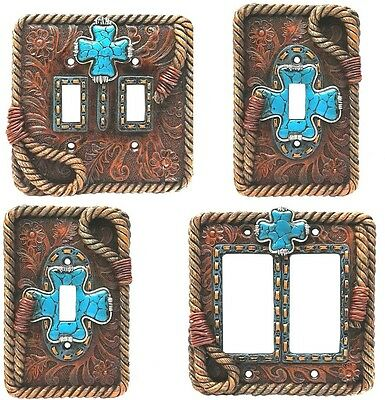 Western Rustic Wall Switch Plug Plates Outlet Covers Turquoise Cross with Rope