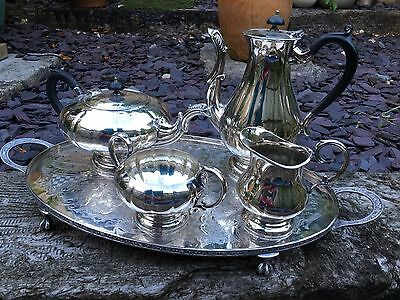 Vintage Silver Plated Chased Tray by Viners of Sheffield & Silver Plate Tea Set