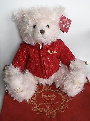 "Harrods 2015 Foot Dated 13"" Annual Christmas Teddy Bear Named Benedict Bag & Tag"