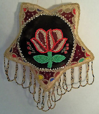 Antique Vintage Native American Indian Iroquois Star Beaded Pillow Pin Cushion