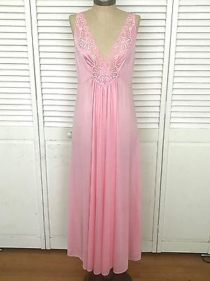 Vintage Shadowline Nightgown Olga Style Full Sweep Med Large Pink Usa