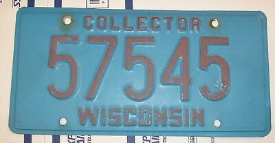 Wisconsin  COLLECTOR  License plate 5 digit, 57545