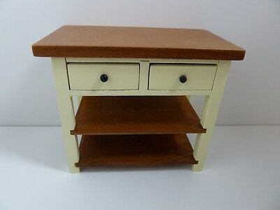 Dolls House Miniature 1:12th Scale Kitchen Furniture Cream Shaker Style Table