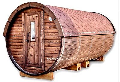 HotTub-direct Outdoor Barrel Sauna L4,8m with wood burning heater.Ready to go!