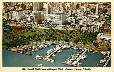 Postcard; Miami, City Yacht Basin And Biscayne Boulevard Hotels