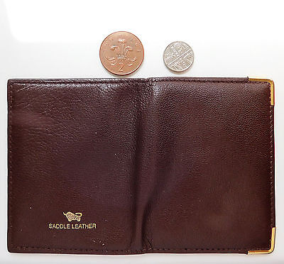 Saddle leather credit card holder small wallet for men or women brown