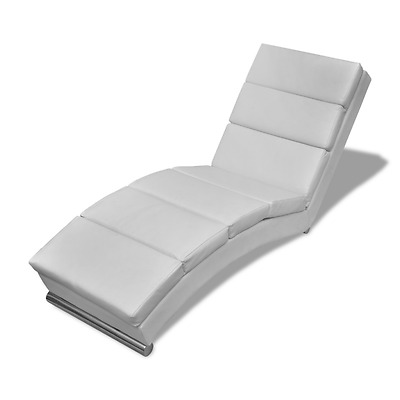 Chaise Longue Lounger White Faux Leather Sofa Bed Elegant Seat Relaxing Chair