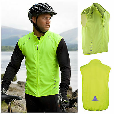 Mens Cycling Gilet Hi-Viz Hi Vis Fluorescent Full Zip Breathable Windproof Light