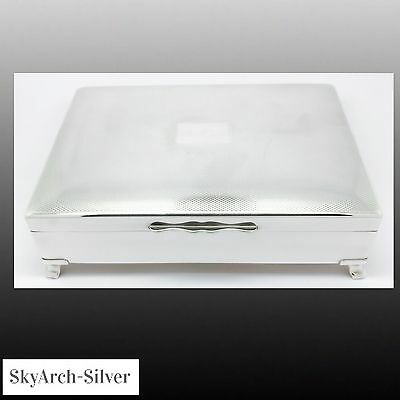 SILVER PLATED EPNS Cigarette Box C1950 ON FEET Silver Plate Cigarette Box