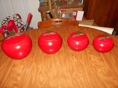 Vintage Red Aluminum Apple Canisters Set Mid Century Modern 8 pc Kitchen Metal