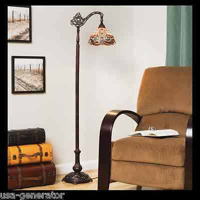 Floor Lamp Reading Light Stained Cut Glass Tiffany Style Handcrafted Vintage