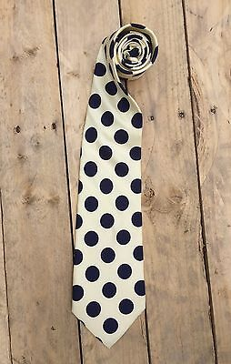 100% Silk Tie Polka Dot Made In Italy Yellow Blue Vintage Graduation Prom