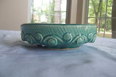 Vintage McCoy Pottery Blue/Green Bulb Planter Bowl with Modified Wave Pattern