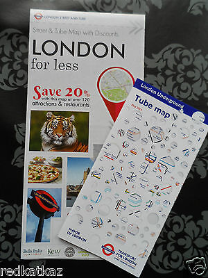 Tourist City Map Of London + Tube Map + 20% Discount @ Restaurants For 6 People