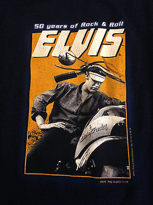 Elvis Presley T Shirt 50 Years Rock Roll Young Motorcycle Graceland Blue Sz L