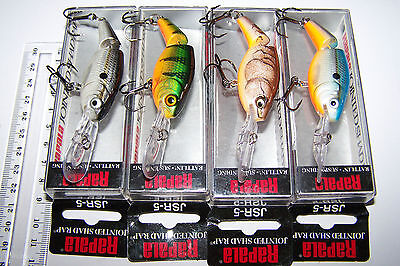 RAPALA FISHING LURES LOT OF 4,  JSR-5   Rattling, Suspending.  Barra, Trout, Cod