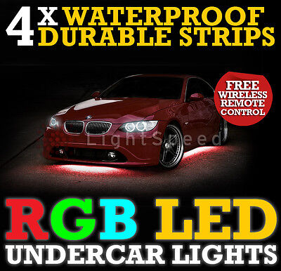 Universal Undercar Led Lighting Rgb Thick Durable Strips 6 Colours - Free Remote