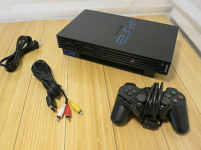 Sony PlayStation 2 PS2 Fat Black Console SCPH-39001 Bundle With Controller 2of4