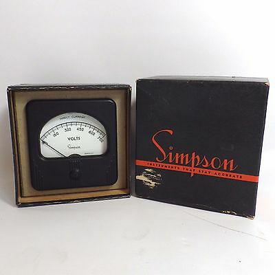 Vintage Simpson DC Ampreres Model 27 Meter 0-750 with Hardware New Old Stock