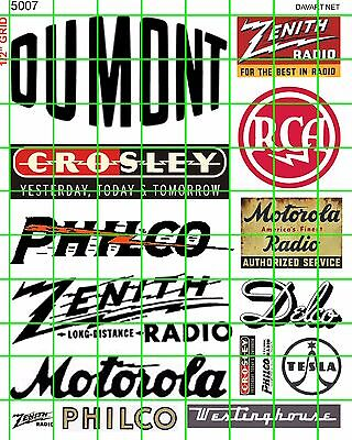 5007 Dave's Decals Ho & O 1:43 Vintage Tv & Radio Building Signs 1940's 1950's