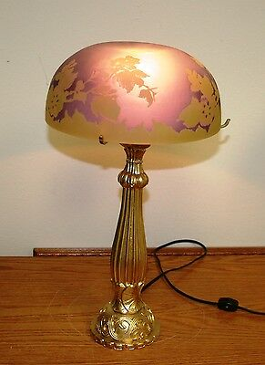 """Rench Reproduction Acid Etched Cameo Glass """"galle"""" Table Lamp / Bronze Base"""